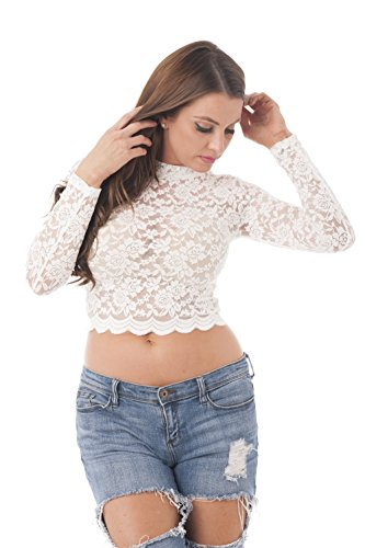 Hollywood Star Fashion Long Sleeve Lace Mock Neck Crop Top (Large, Ivory)