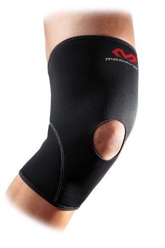 McDavid 402 Knee Supp Open/Pat (Black, Large) Neoprene Patella Knee Sleeves