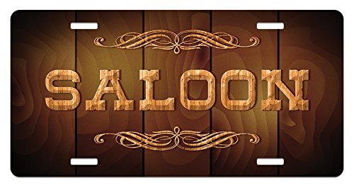 Wooden Sign Saloon and Curly Ornaments on a Wood Wall Classic American Bar Print 5.88 L X 11.88 W Inches Lunarable Western License Plate Brown Caramel lic/_11933 High Gloss Aluminum Novelty Plate