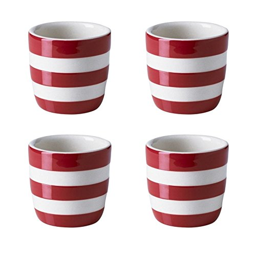 (Cornishware Red and White Stripe Stoneware Set of 4 Egg Cups by Red Cornishware)