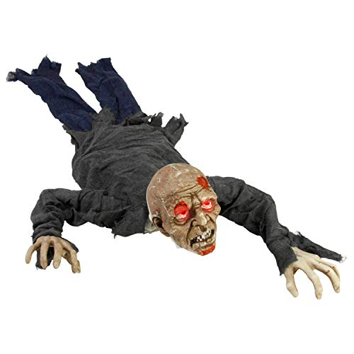 Halloween Haunters Animated Crawling Speaking Groundbreaker Zombie Reaper Prop Decoration - Moving Body, Creepy Moans Howls, Calls Out for Brains - Battery Operated - Haunted House Graveyard