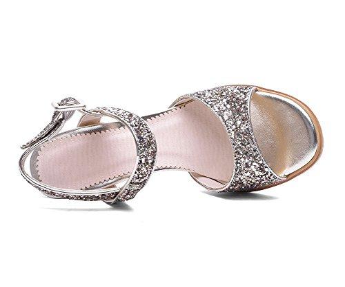 AgooLar Women's Buckle High-Heels Blend Materials Solid Open Toe Sandals Gold kczojLTqwy