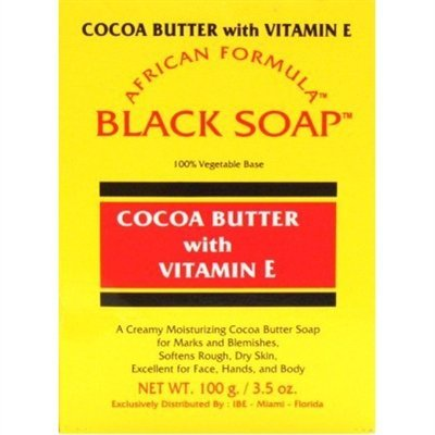 (African Formula Black Soap Box 3.5oz With Cocoa Butter &)