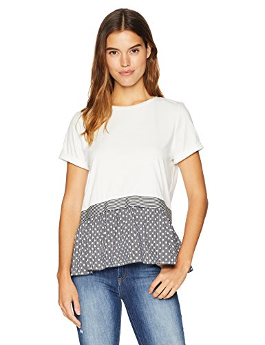 Nicole Miller New York Women's Ruffle Peplum T-Shirt, White with Black Polka dots S from Nicole Miller New York