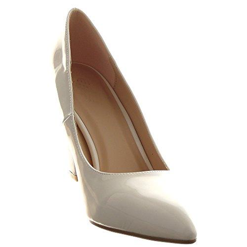 Sopily - Chaussure Mode Escarpin Decolleté Stiletto Ouverte Decolleté Cheville femmes Brillant Talon haut bloc 9.5 CM - Beige
