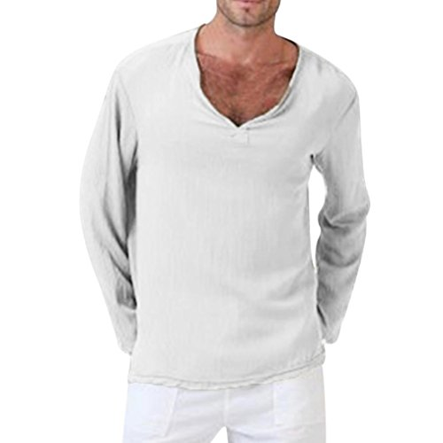 haoricu Mens Summer Long Sleeve T-Shirt Cotton Linen Shirt V-Neck Sport Yoga Top Blouse White