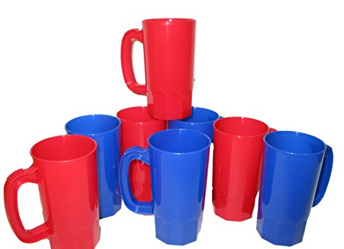 Stein Oz Plastic 14 (10 14 Ounce Small Cups -Mugs, Mix Blue & Red Colors)