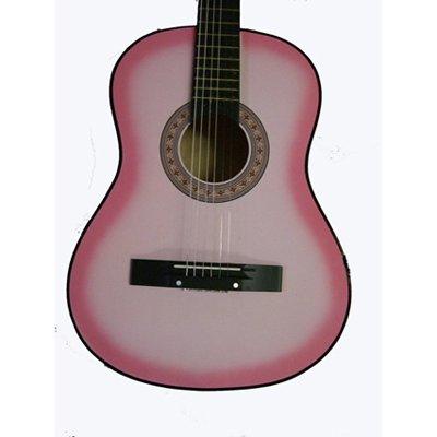 38'' Inch Starter Beginners Pink Acoustic Guitar & DirectlyCheap(TM) Translucent Blue Medium Guitar Pick