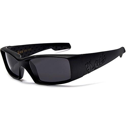 Gangsta Shades LOCS Hardcore Square Inset Dark Lens Sunglasses (Matte -