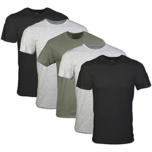 Gildan Men's Crew T-Shirts, Multipack, Black/Sport