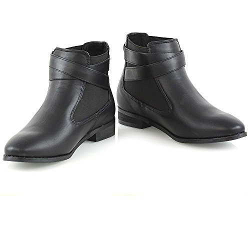 Glam Boots Womens Black Ankle Ladies Boots Chelsea Elastic Leather Pull Synthetic On Essex HpdBxpw