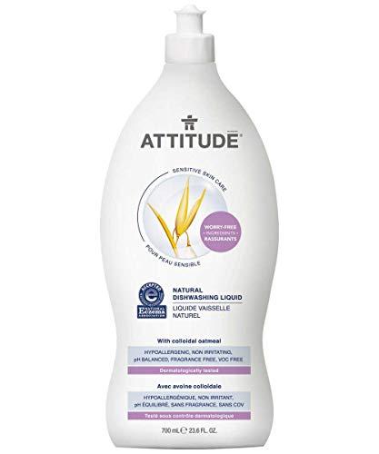 ATTITUDE Sensitive Skin, Hypoallergenic Dishwashing Liquid, Fragrance Free, 23.6 Fluid Ounce