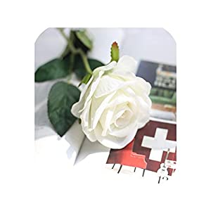 10PCS Real Touch Rose Artificial Flowers Rose Flowers Wedding Bouquet Party Flower Bridesmaid Home Decorative Fake Flower, 6 27