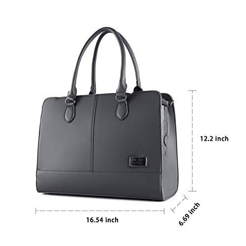 MOSISO Laptop Tote Bag for Women (Up to 15.6 Inch), Premium PU Leather Large Capacity with 3 Layer Compartments Business Work Travel Shoulder Briefcase Handbag, Space Gray by MOSISO (Image #6)