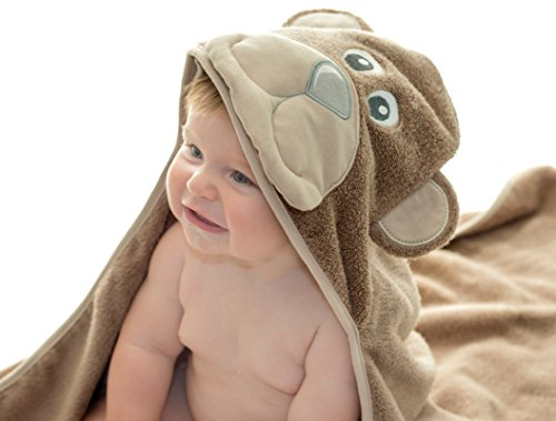 Little Tinkers World Bear Hooded Cotton Baby Towel, 30×30-Inch