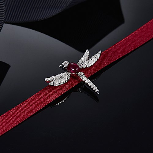 (TKHNE 925 sterling silver fashion personality simple silver necklace pendant inlaid crystal diamond dragonfly ribbons tide wild )