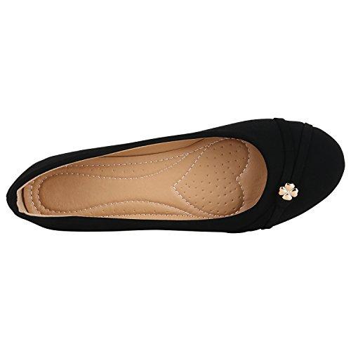 Stiefelparadies Klassische Damen Ballerinas Strass Leder-Optik Schuhe Elegante Slipper Slip On Flats Glitzer Übergrößen Abiball Flandell Schwarz Blumen