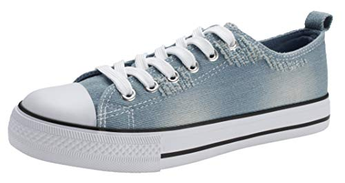 PepStep Canvas Sneakers for Women/Light Blue/Navy/Black Casual Shoes Low Top Lace up Fashion - Denim Canvas Jeans