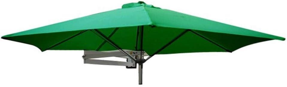 Parasols Wall-Mounted Patio Umbrella with Metal Pole - Outdoor Garden Yard Balcony Tilting Sunshade Umbrella, Ø 8ft / 250cm (Color : Green)