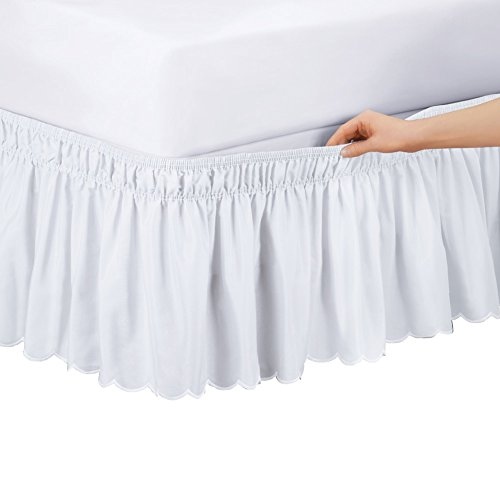 Collections Etc Scalloped Elastic Bed Wrap Around, Easy Fit, Dust Ruffle Bedskirt, White, Twin/Full