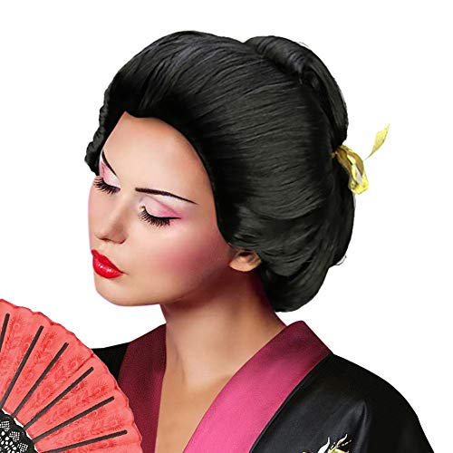 Deluxe Women's Asian Japanese Geisha Wig Short Bob Wigs Costume Accessory Halloween Cosplay Party Hairpiece (Updo Geisha Wigs)