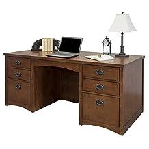 Martin Furniture Mission Pasadena Double Pedestal Executive Desk