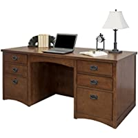 Martin Furniture Mission Pasadena Double Pedestal Executive Desk
