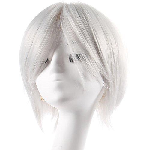 Xcoser Ken Kaneki Wig Tokyo Cospaly Ghoul Sliver Short Wig Costume Accessories
