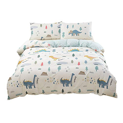 (SAIWER Kids Duvet Cover Sets,Dinosaur Cartoon Pattern, Children Teens Boys 100% Cotton Bedding Sets, 1 Duvet Cover 2 Pillowcases - Twin)