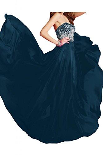 Por la noche la gasa nupcial modern en forma de corazón de la Toscana vestidos de novia vestidos de fiesta de vírgenes de largo vestidos de Prom vestidos de bola Tinte Blau