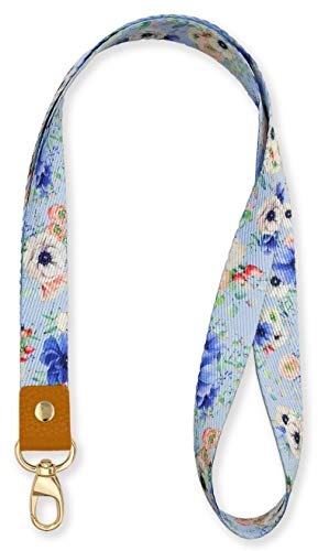 SENLLY Blue Flowers Neck Lanyard Strap Premium Quality with Metal Clasp and Genuine Leather, for Id Badges, Card Holder, Keychain, Cell Mobile Phone, Lightweight Items etc