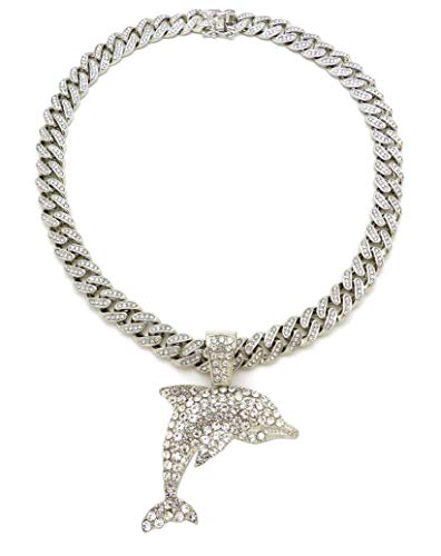 """Fashion 21 Iced Out Dolphin Pendant 12mm 18"""", 20"""" Iced Out Miami Cuban Chain Necklace in Gold, Silver Tone (Silver / 12mm 20"""" Iced Out)"""
