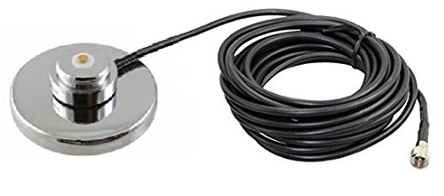 1230-MUHF Motorola Mini-UHF 3 1/4'' Magnet Mount NMO Mag Mount 17 foot Antenna Cable Roof or Trunk for Mobile Radios