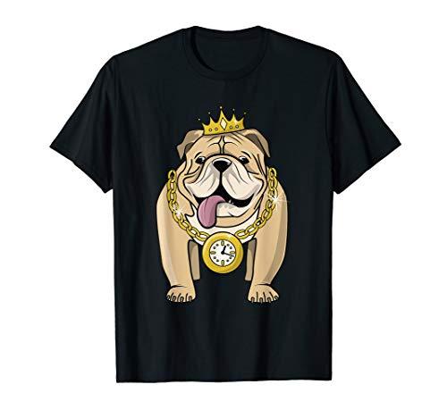 (Bulldog Rapper T-shirt Hip-Hop Dog Crown Gold Chain Clock)