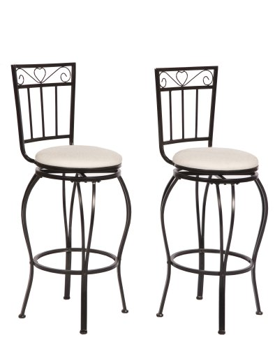 Target Marketing Systems Gabriella Collection Contemporary Upholstered Metal Pub Stools, Set of 2, High Back, ()
