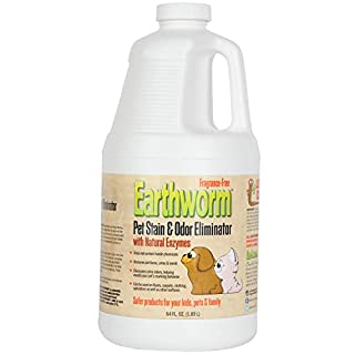 Earthworm Pet Stain Remover & Odor Eliminator- Removes Urine Smell with Natural Enzyme Formula, Fragrance Free Spray - 64 oz