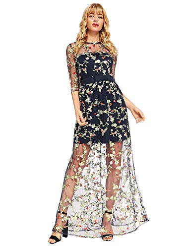 DIDK Women's A Line Floral Embroidery Mesh Sheer Evening Cocktail Dress Pink XL