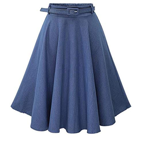 chouyayou Women's Tailored Elastic Waist Belted A-Line Pleated Flare Midi Denim Jean Skirt (Small, Blue)