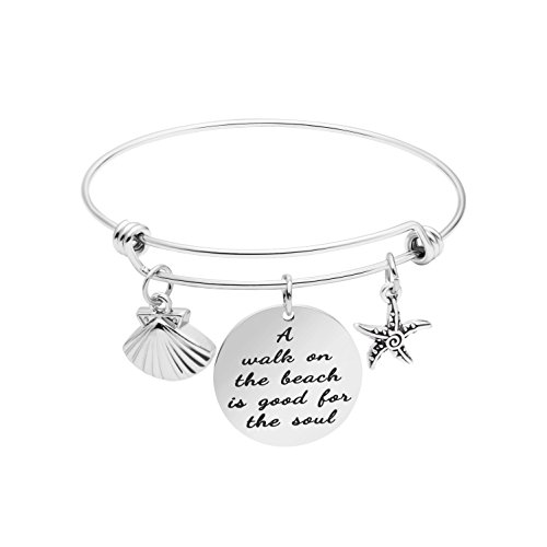 Yiyangjewelry Beach Bracelets for Women Inspirational Jewelry Gifts for Beauty (A Walk on The Beach is Good for Soul)