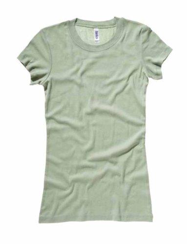 Bella mujer algodón largo manga corta Slim-Fit T-Shirt–�?101 Musgo verde