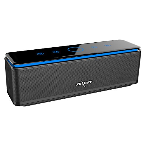 ZEALOT S7 Touch Control Bluetooth Wireless Speakers 4 Drivers Power Bank with Built-in 10000mAh Battery,LED Bar,Aux Audio/TF Card Supported - Jet Black by ZEALOT