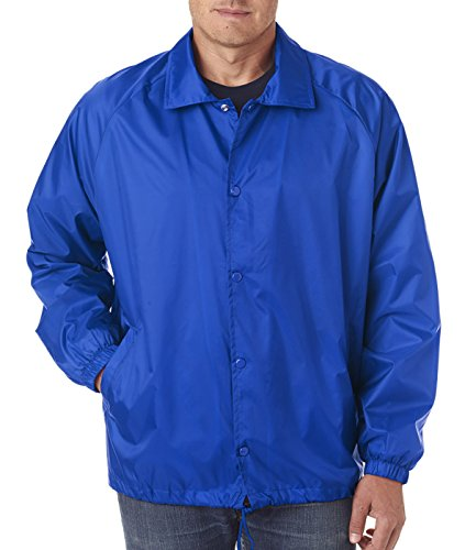 Flannel Coaches Jacket Nylon - Snap N Wear Big and Tall and Regular Flannel Lined Coaches Jacket Windbreaker To Size 6X (Royal, Large)