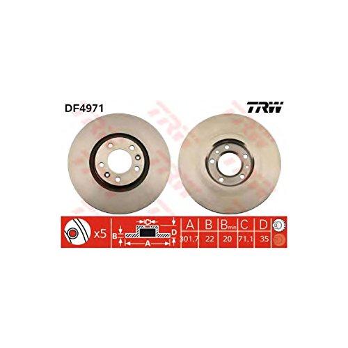 Genuine TRW Vented Brake Discs - Part Number DF4971:
