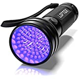 UV Flashlight Black Light, 51 LED 395 nM Ultraviolet Flashlight Perfect Detector for Pet (Dog/Cat) Urine, Dry Stains and Bed Bug, Handheld Blacklight for Scorpion Hunting