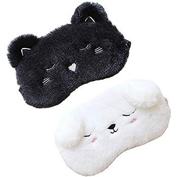 2 Pack Cute Animal Sleep Mask for Girls Cute Cartoon Cat Dog Soft Plush Blindfold Sleep Masks Eye Cover for Women Girls Travel Nap Night Sleeping