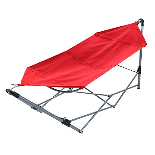 Folding Hammock - Portable Hammock with Stand-Folds and Fits into Included Carry Bag for Easy Travel-Perfect for Backyard, Pool, Beach, Hiking by Pure Garden -Red