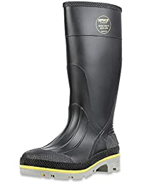 "Servus XTP 15"" PVC Chemical-Resistant Steel Toe Men's Work Boots, Black, Yellow & Gray"