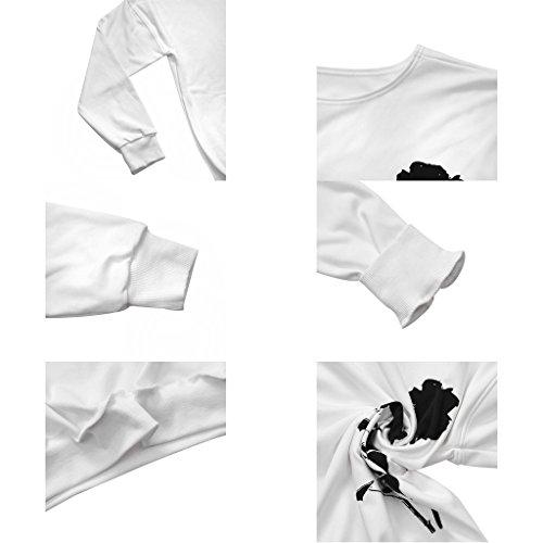 Jiayiqi Mujeres Camiseta Divertida Impresión Off El Hombro Sudadera Slouchy Jerseys Mano afortunada