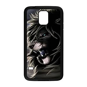 Lion Pattern TPU Snap on Case Cover For Samsung Galaxy S5-Black/White