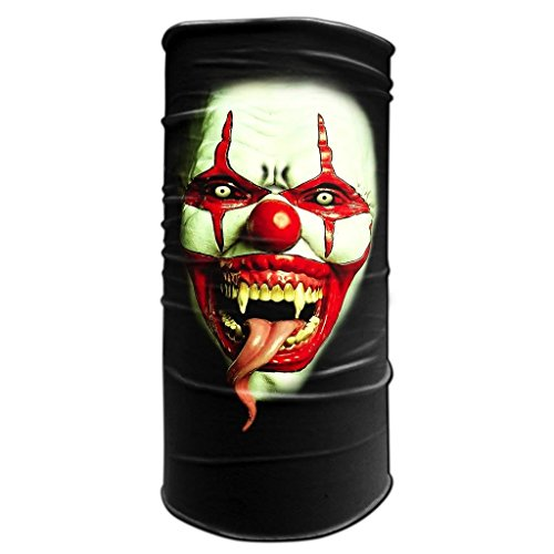 Tubular Neck Warmer Bandana Scary Clown Face 3 Biker Balaclava Head Wrap (Clown Faces Scary)